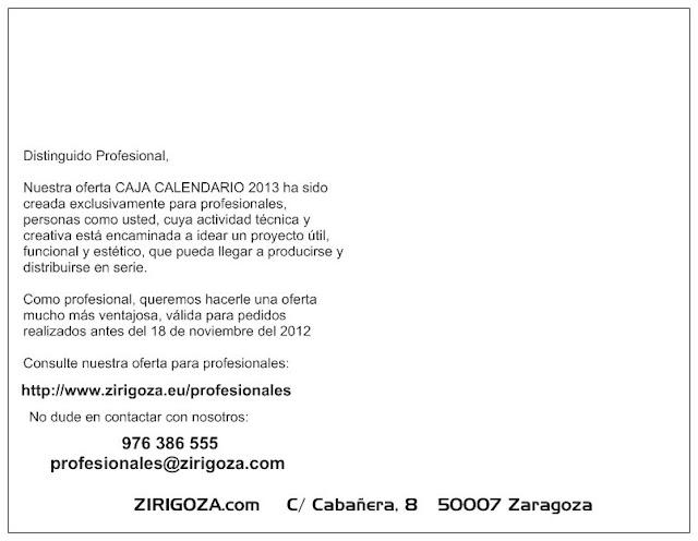 Posterior tarjeta campaña caja calendario http://www.zirigoza.eu/profesionales