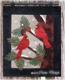 "Cardinals Chattering Wool Applique Wall Hanging  15 1/2"" by 18"""