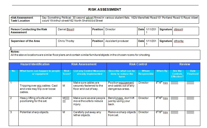 My Name Is Dan This Is My Blog  Risk Assessment Form