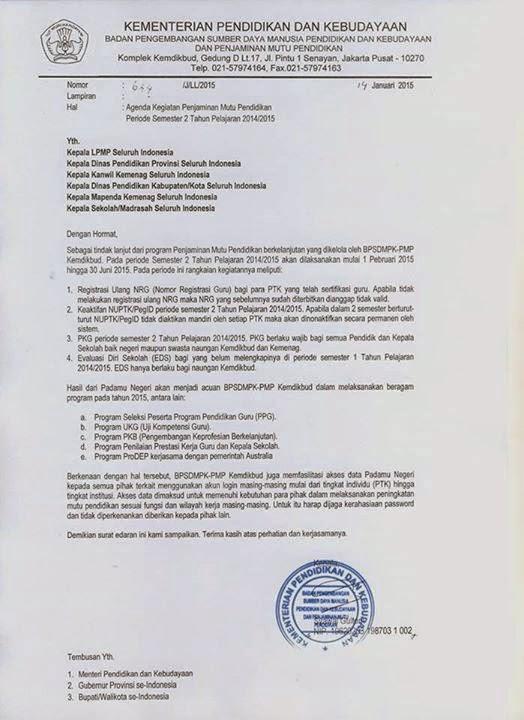 Surat Edaran Agenda Padamu Negeri Semester 2 Tahun Pelajaran 2014/2015