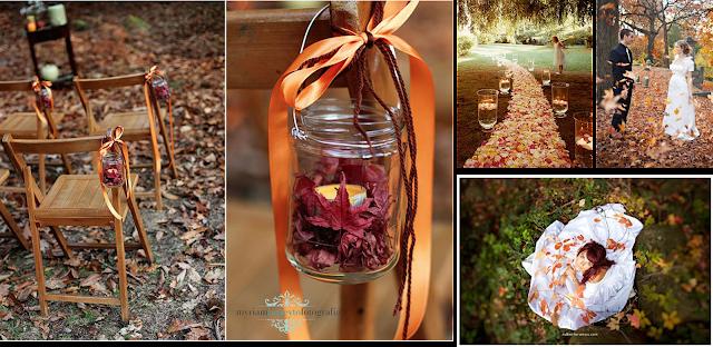 Decoracion con hojas secas para bodas de otoño