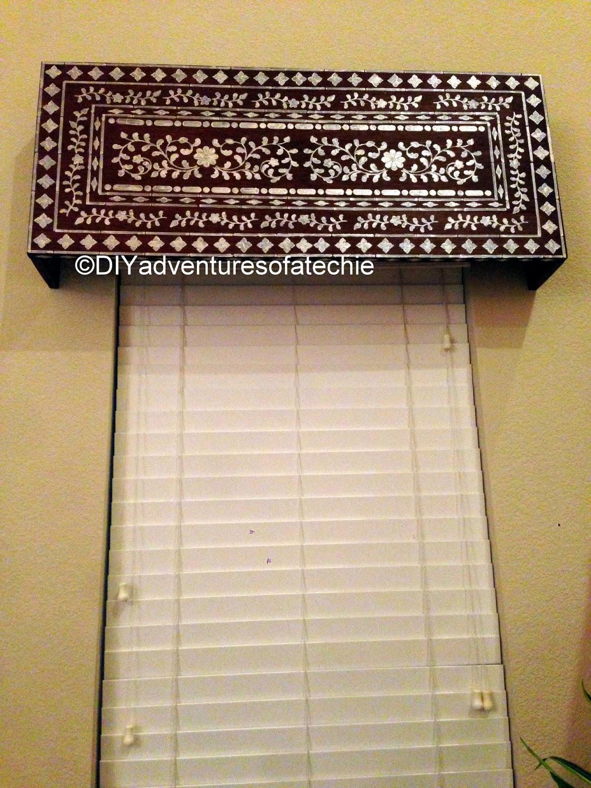 Diy Wood Cornice Indian Inlay Stenciled Window Cornice Techies Diy Adventures