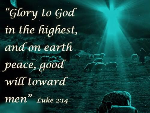 """""""Glory to God in the highest, and on earth peace, good will toward men"""" Luke 2:14"""