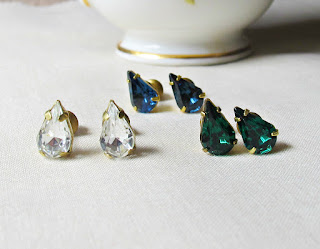 image vintage rhinestone earrings ear studs emerald green two cheeky monkeys teardrop handmade crystal sapphire blue