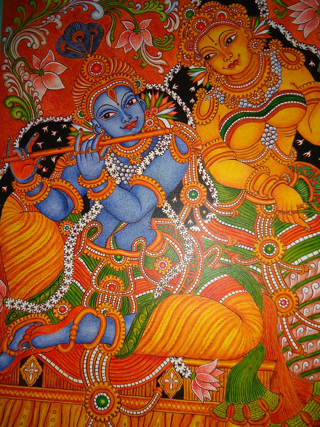 My talent mural painting radha krishna for Mural art designs