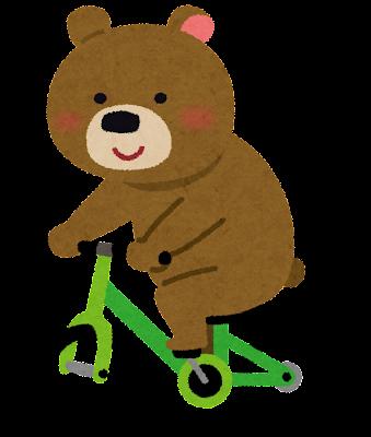 自転車に乗った熊のイラスト(動物)