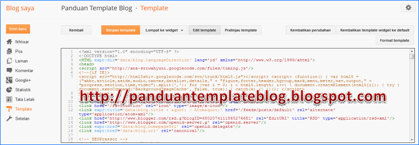 Tampilan Baru Menu Edit HTML Template Blogger
