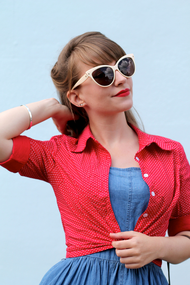 Collectif Virginia polka dot shirt, Collectif Leah sunglasses
