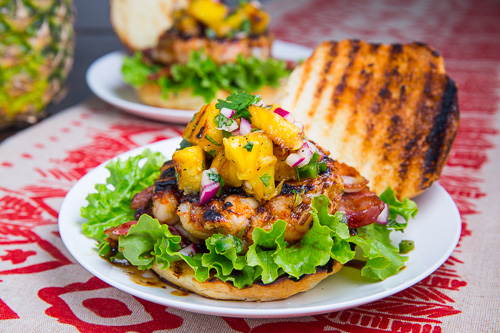 Teriyaki Shrimp Burgers with Grilled Pineapple Salsa and Bacon