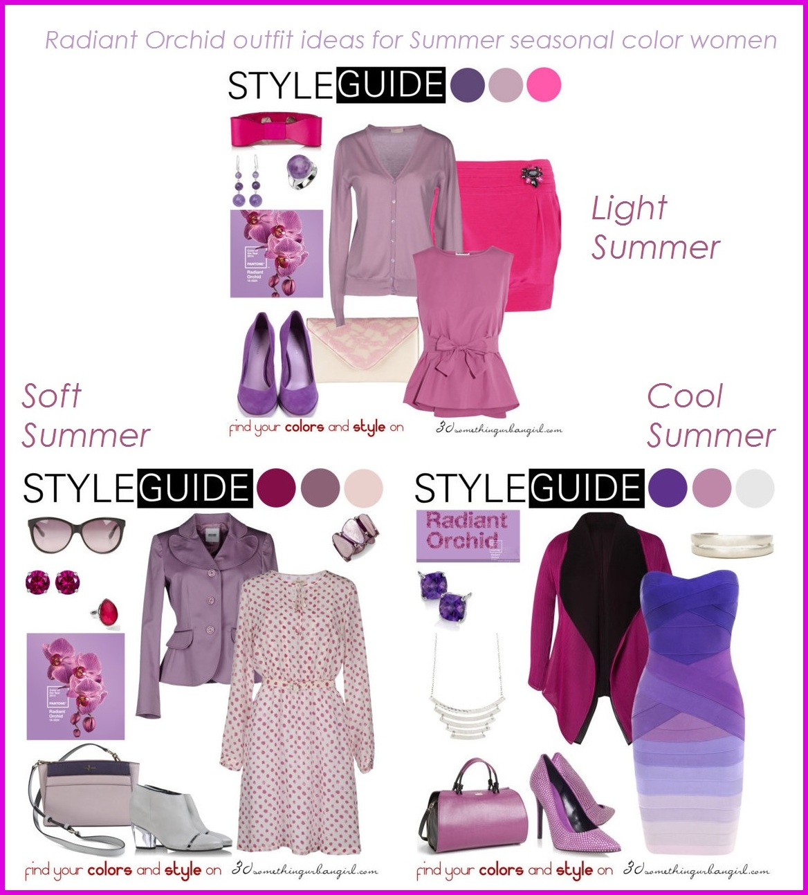 Radiant Orchid outfit ideas for Summer seasonal color women
