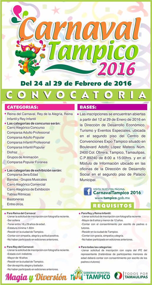 carnaval tampico 2016 convocatoria