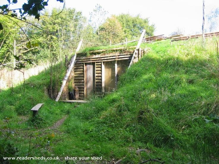 Shedworking hobbit sheds for Building a house on a slope