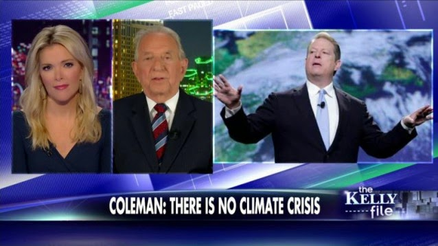 John Coleman, a co-founder of The Weather Channel, tells Fox News' Megyn Kelly that global warming is a hoax. (Credit: Fox News screenshot) Click to Enlarge.