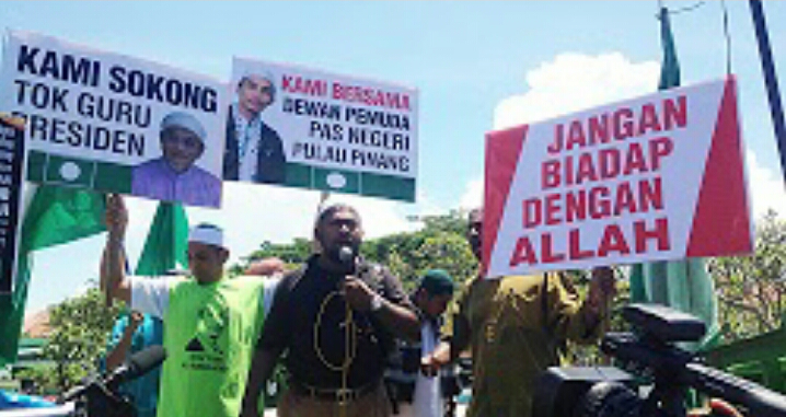 LEPAS JUMAAT Penyokong PAS demo anti PKR di P Pinang