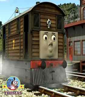 Thomas and friends Toby the train tram and Bash the tank engine at Sodor search and rescue center