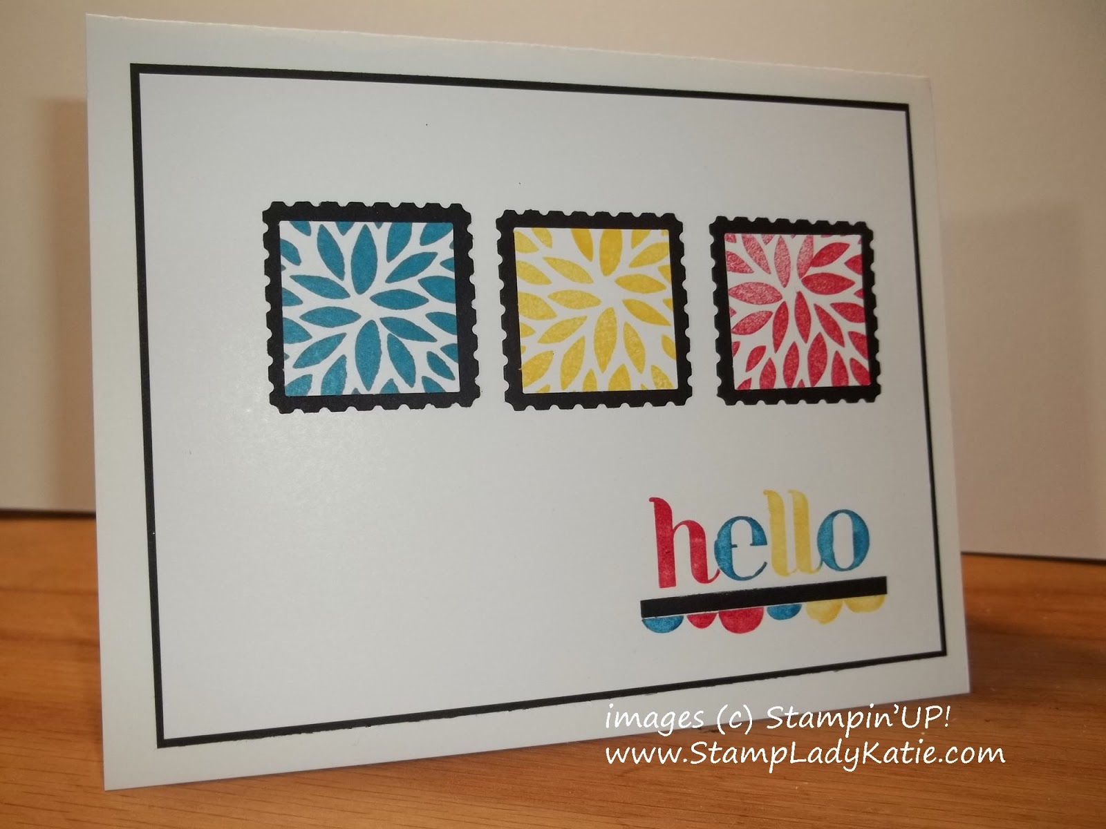 Card in primary colors using Stampin'UP!'s Petal Parade Sale-a-bration Stamp Set