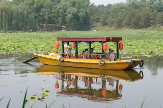 Boat on lake at Yuanmingyuan or Old Summer Palace in Beijing