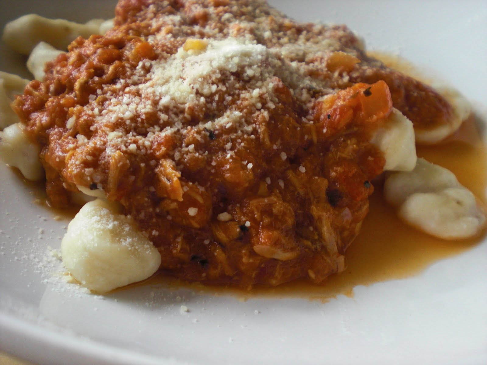 ... so we have ricotta gnocchi with a somewhat spicy tuna marinara sauce