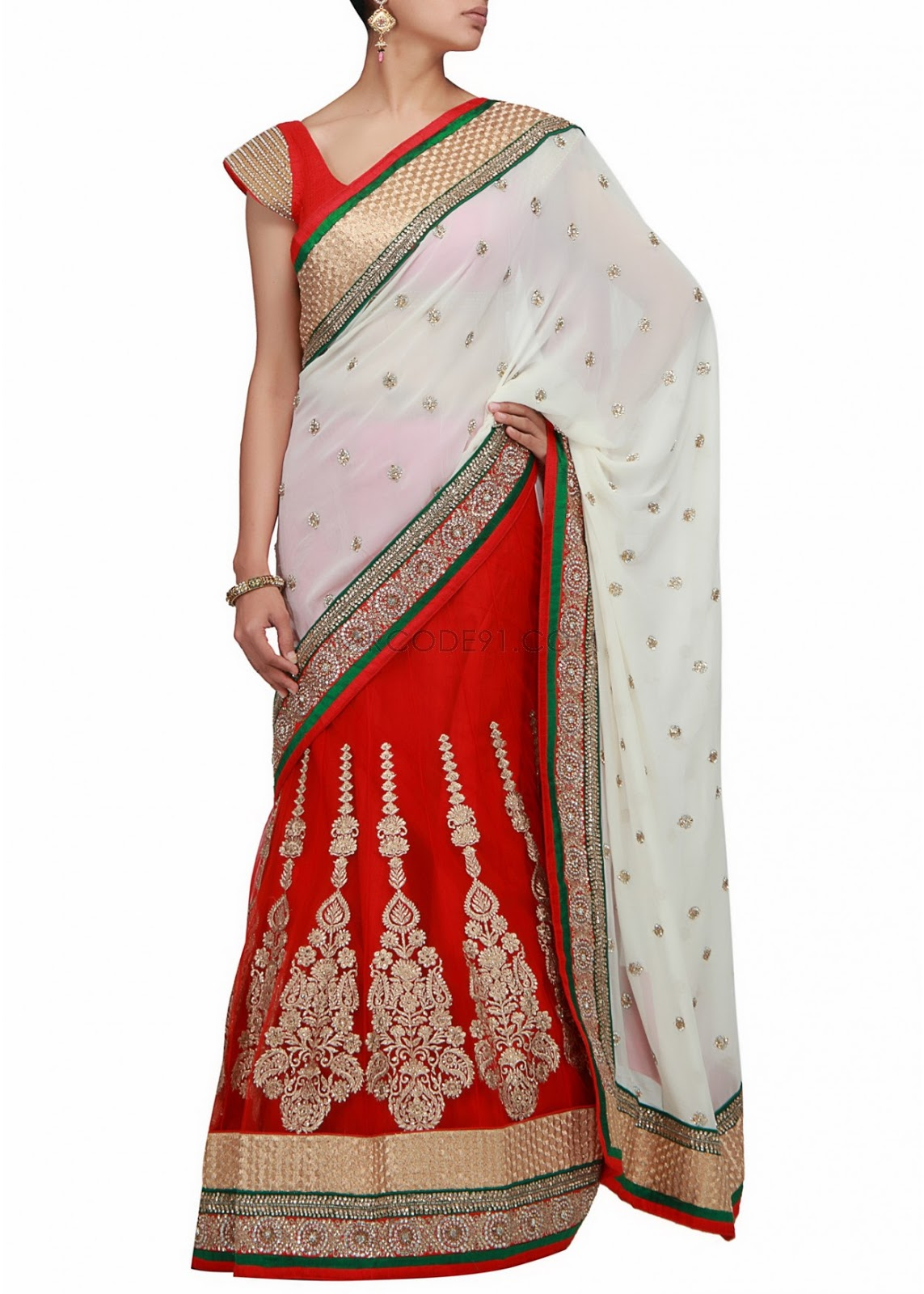 Displaying images for red and white indian wedding dresses