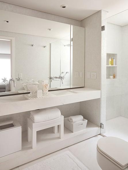 ACABAMENTOS DE BANHEIRO IDEIAS PARA DEIXAR O SEU ESPAÇO MAIS BONITO  Papo d -> Banheiro Pequeno E Clean