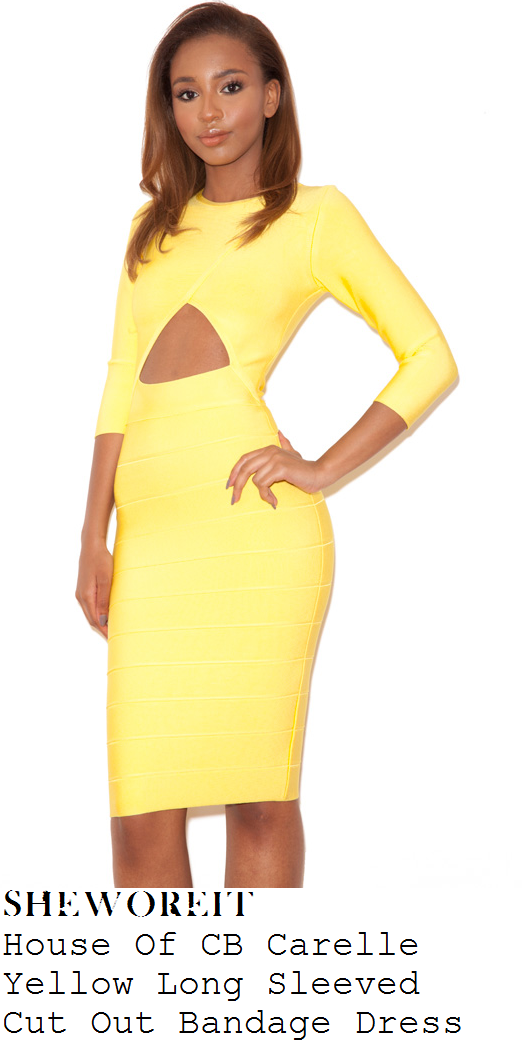 chloe-goodman-bright-yellow-cut-out-detail-long-sleeve-bandage-dress