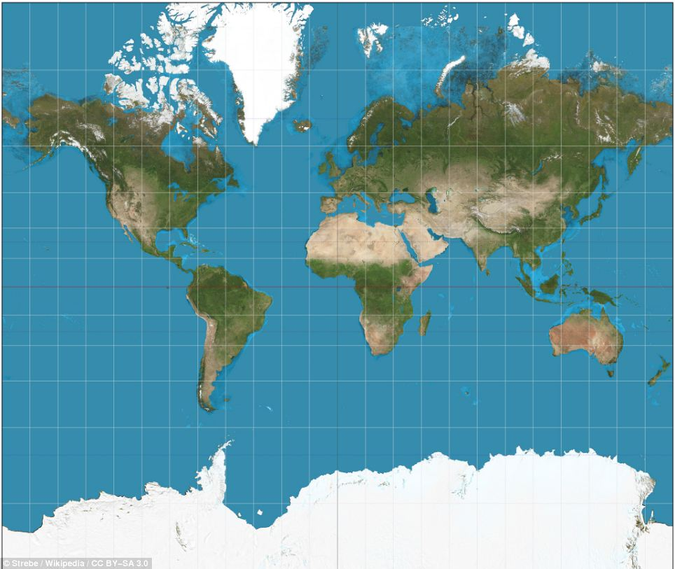 Mercator Projection world map