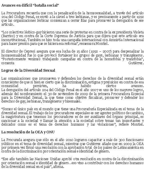 AUNQUE CON ALGUNOS INCIERTO DE REDACCION E INTERPRETACION DE GENERO