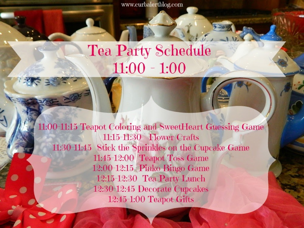 Tea Party Game Schedule Ideas for Little Girls via Curb Alert! Blog http://www.curbalertblog.com/2014/03/tea-party-ideas-for-little-girls.html