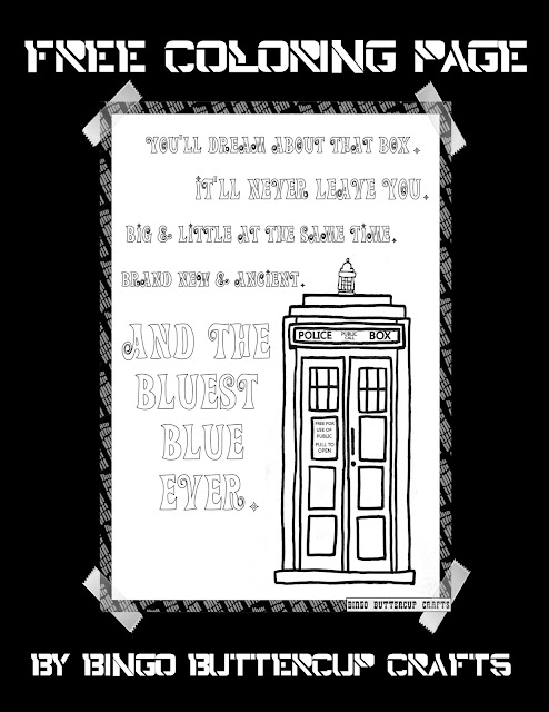 TARDIS love coloring page by Bingo Buttercup