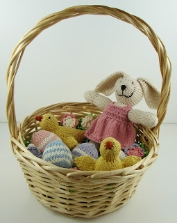 knit easter basket, knit eggs, knit bunny, knit chicks, crochet flowers