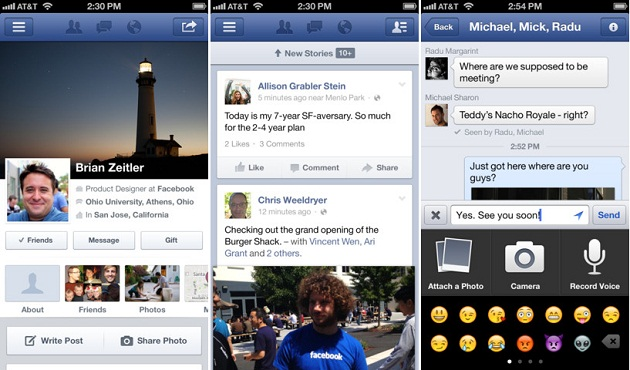 Facebook app for iOS Screenshots