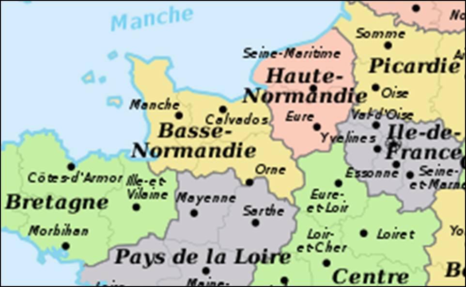 Kaart frankrijk departementen regio 39 s kaart normandi for Haute normandie basse normandie