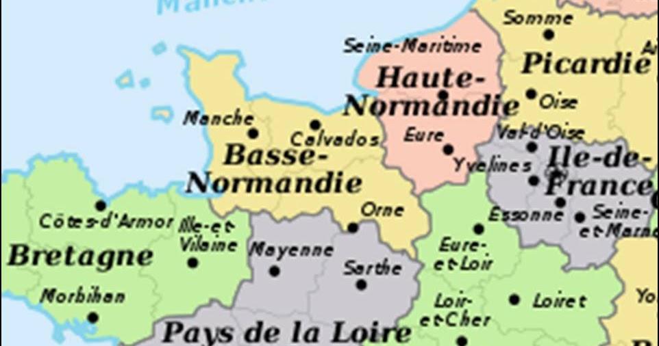 Kaart frankrijk departementen regio 39 s kaart normandi - Chambre des notaires de basse normandie ...