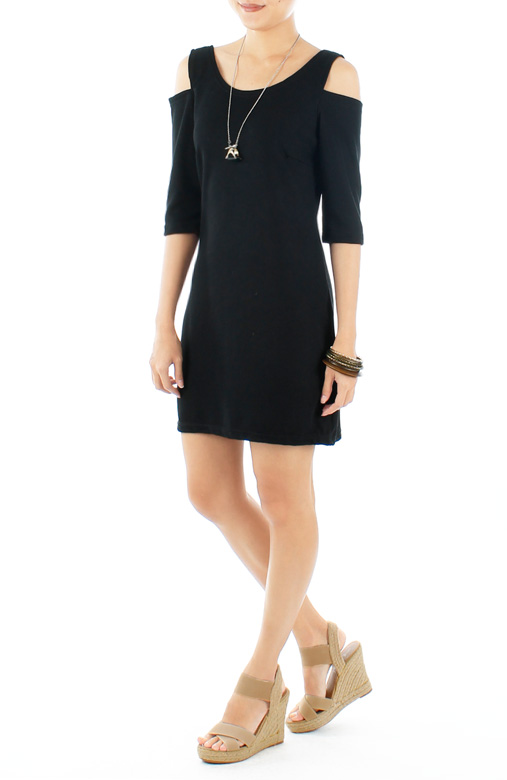 Black Tough Love Dress with Cutout Shoulder