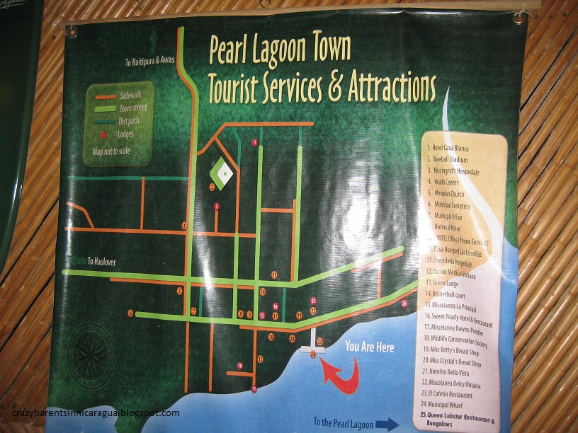 Map of Pearl Lagoon Tourist Services and Attractions – Nicaragua Tourist Attractions Map