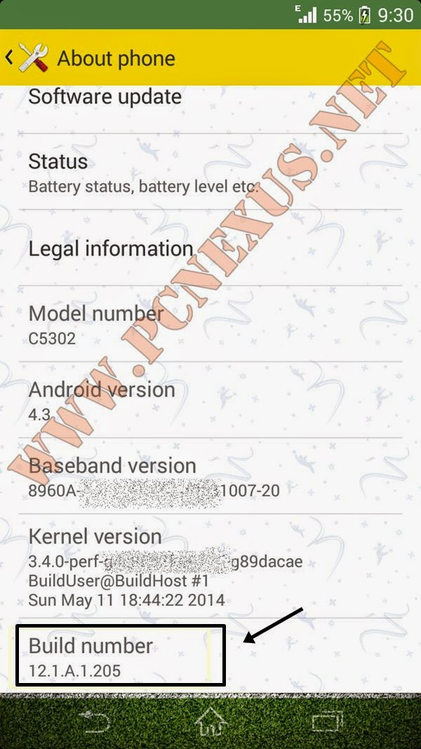 xperia SP 12.1.A.1.205 build number