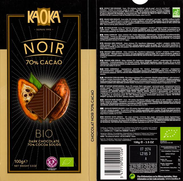 tablette de chocolat noir dégustation kaoka bio noir 70