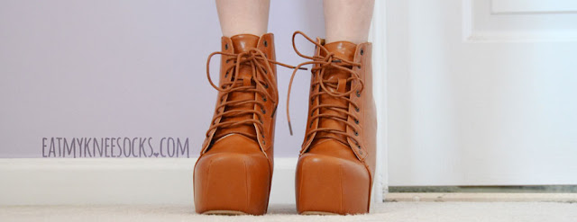 The lace-up front of these Jeffrey Campbell Lita dupe platform booties from Milanoo add an edgy-chic flair.