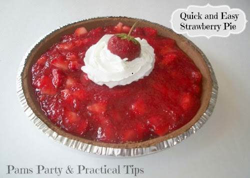Pams Party and Practical Tips shared her Quick and Easy Strawberry Pie featured at One More Time Events.com