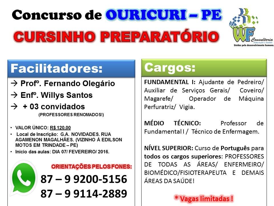 PASSE NO CONCURSO DE OURICURI COM O AUXÍLIO DA W.F. CONSULTORIA
