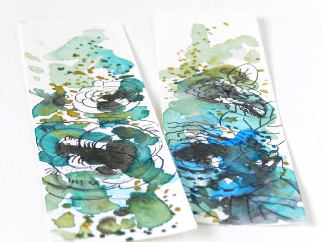 watercolor flower bookmarks
