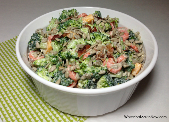 Broccoli Cheddar Cheese Salad with a light dressing using Greek yogurt!