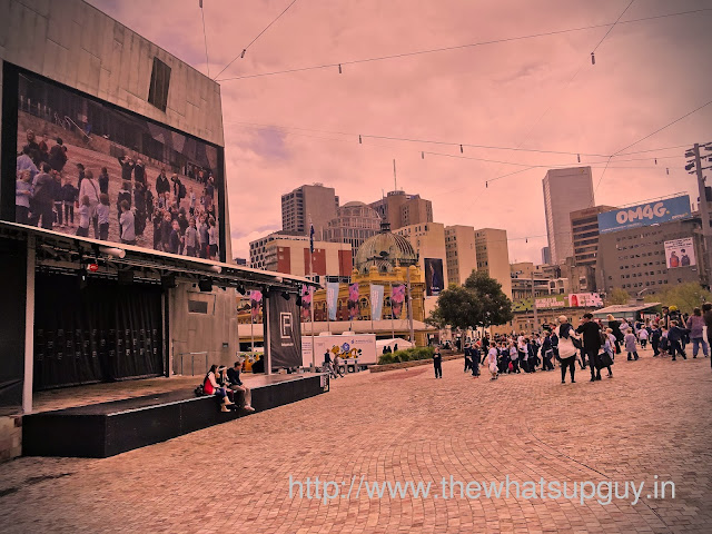 Children Watching Themselves on Giant Screen In Federation Square