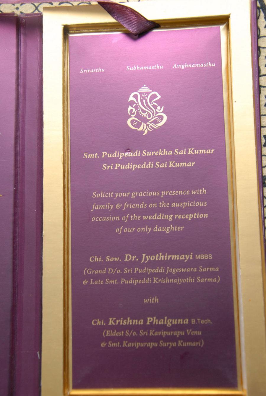 Sai Kumar Daughter S Wedding Invitation Card