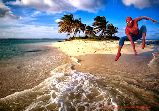 Desktop Wallpaper of Spiderman Wallpaper Super Hero Jumping at Beautiful Island