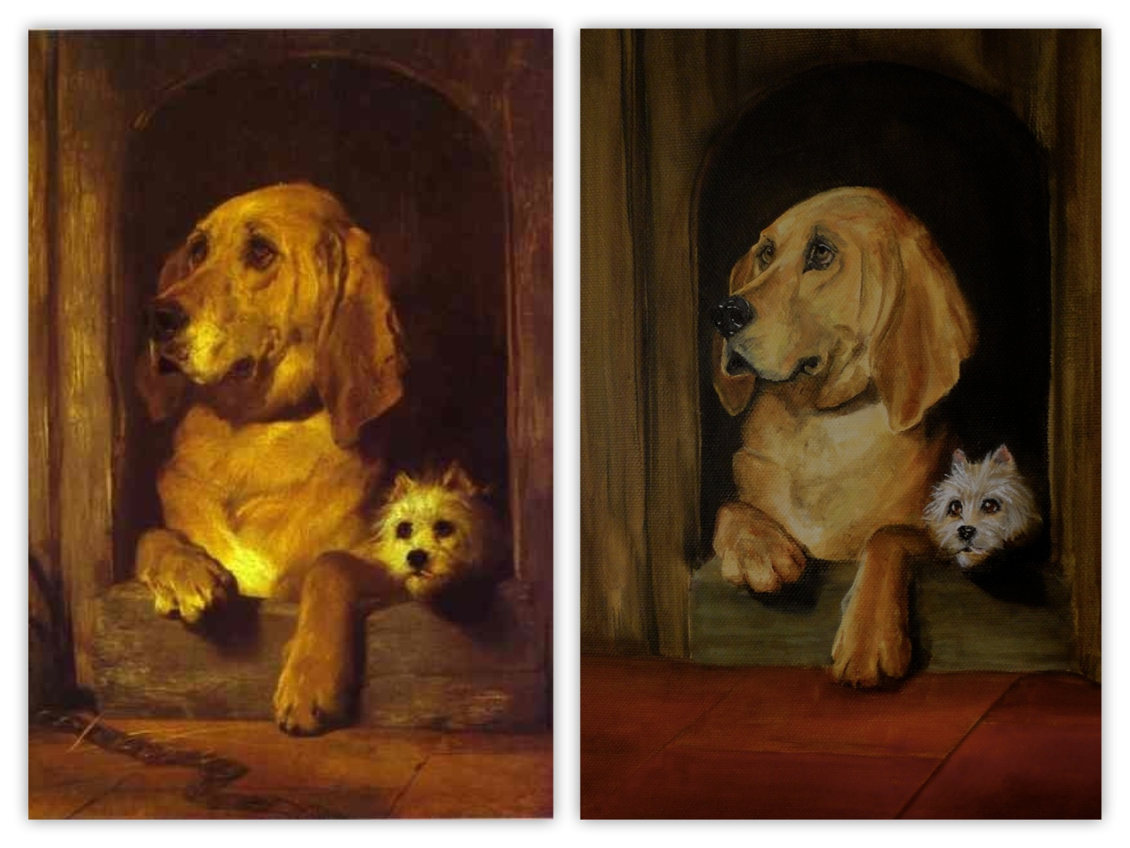 oil painting Dignity and Impudence, Sir Edwin Landseer and a copy by pet portraits by karen