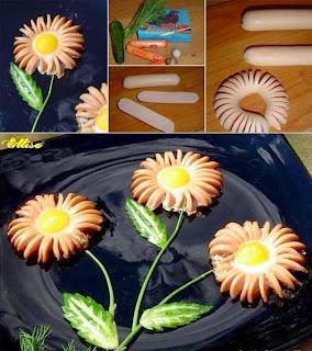Flores de Salchicha y Huevo, Cocina Facil y Bonita