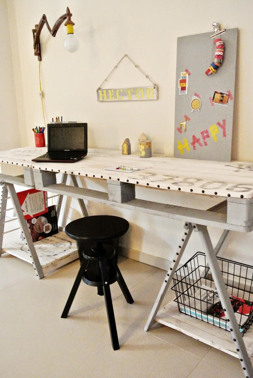 biurko z palet DIY,pinezki jako ozdoba,upcykling,jakie biurko do pokoju młodzieżowego,malowanie drewna,transfer na drewnie,meble z palet DIY,najlepsze meble z palet