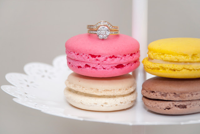 Pink, yellow, macaroons, engagement ring, cluster ring