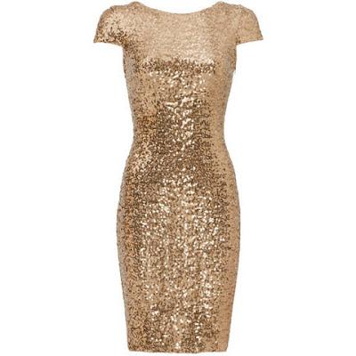 vestido paetes dourado